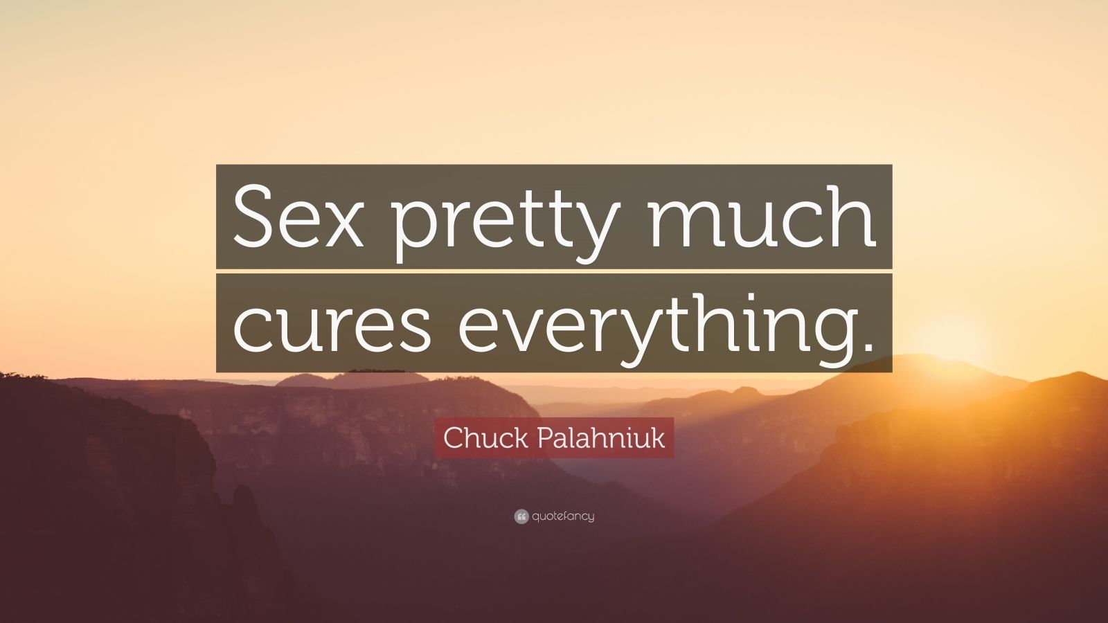 "Chuck Palahniuk Quote: ""Sex pretty much cures everything."""