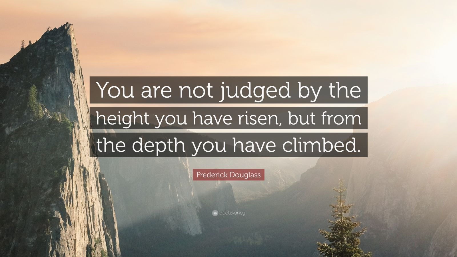 "Frederick Douglass Quote: ""You are not judged by the height you have risen, but from the depth you have climbed."""