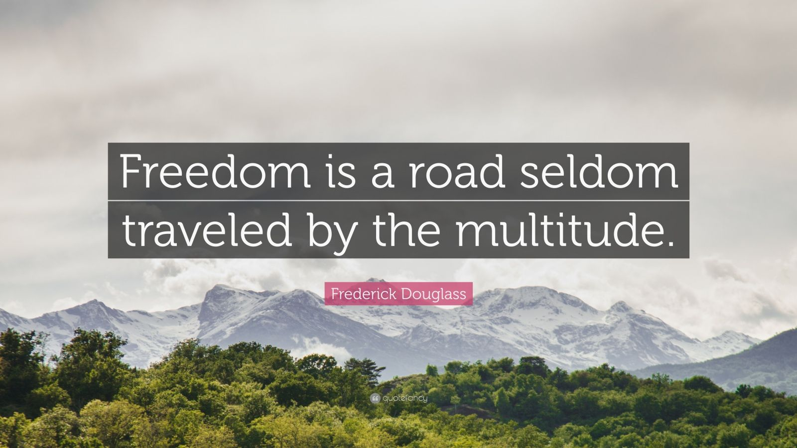 """Frederick Douglass Quote: """"Freedom is a road seldom traveled by the multitude."""""""