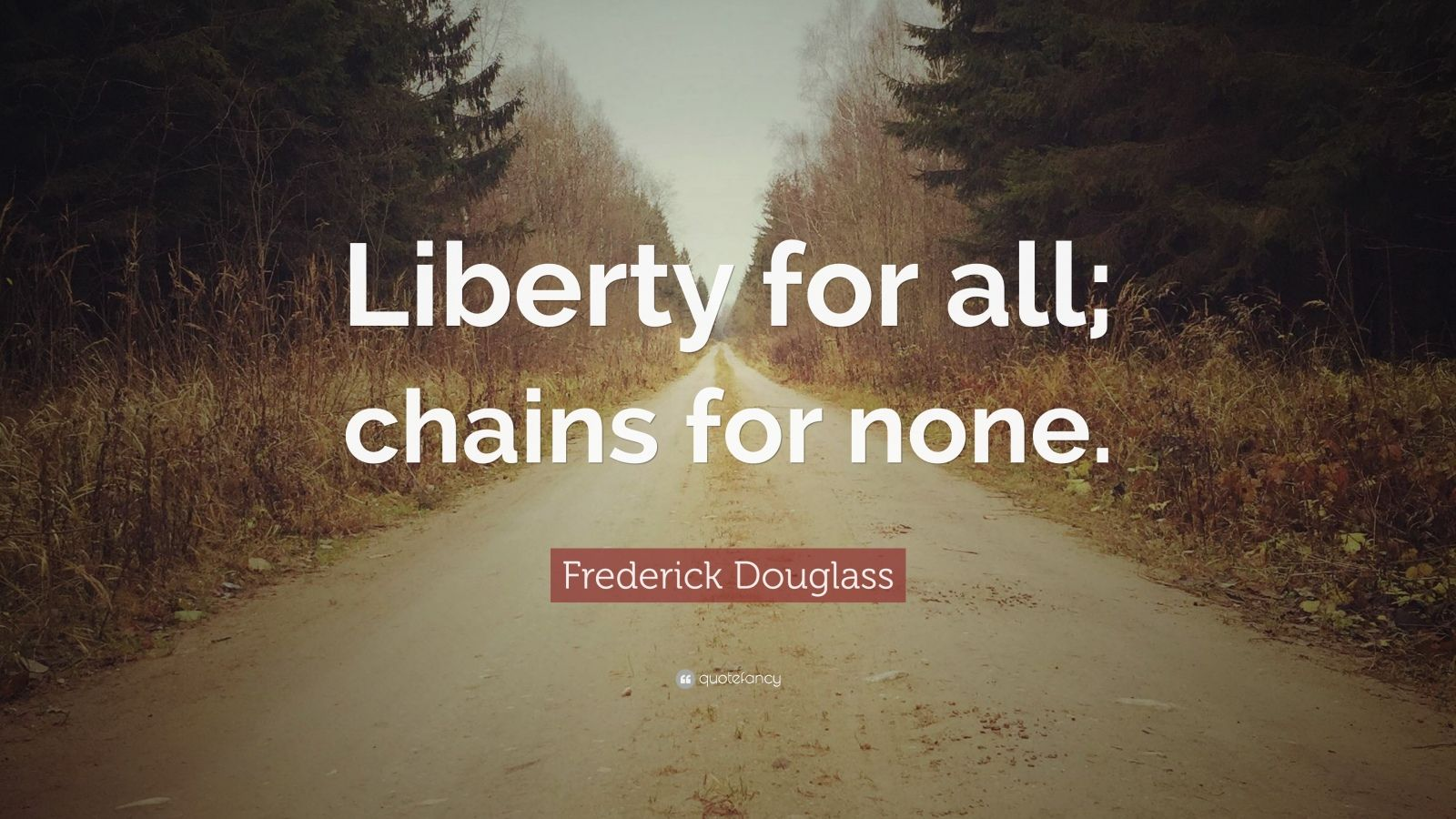 """Frederick Douglass Quote: """"Liberty for all; chains for none."""""""