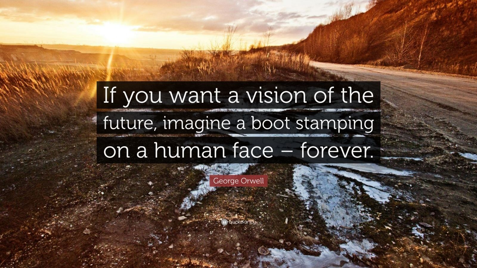 "George Orwell Quote: ""If you want a vision of the future, imagine a boot stamping on a human face – forever."""