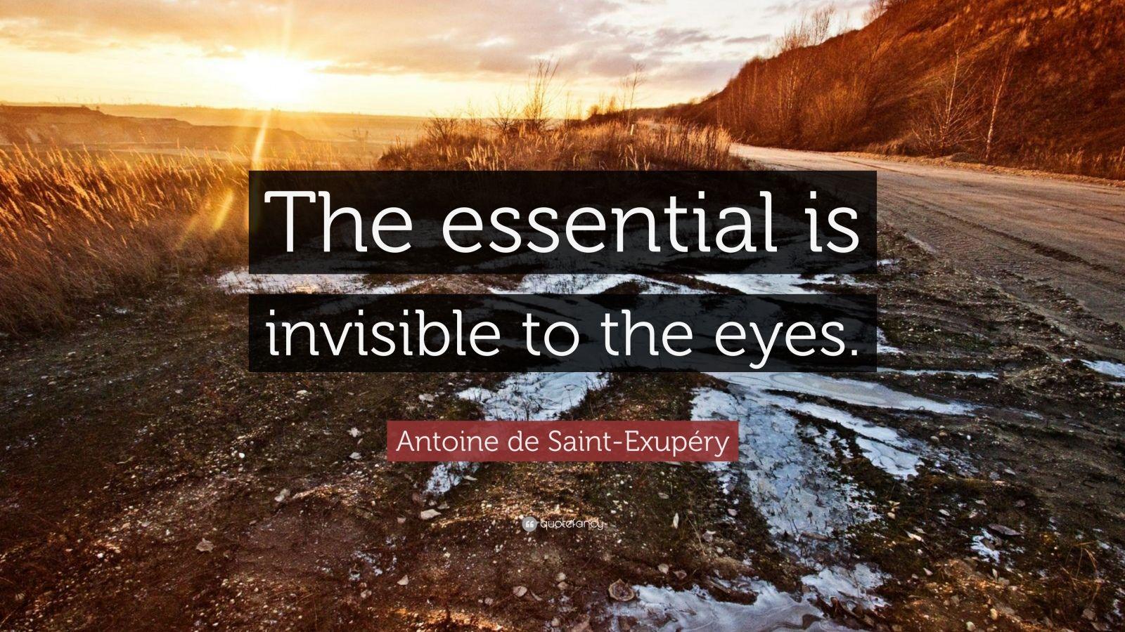 """Antoine De Saint-Exupéry Quote: """"The Essential Is"""