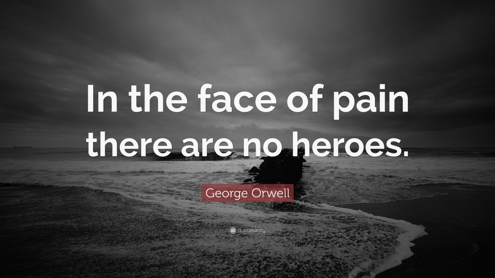 "George Orwell Quote: ""In the face of pain there are no heroes."""
