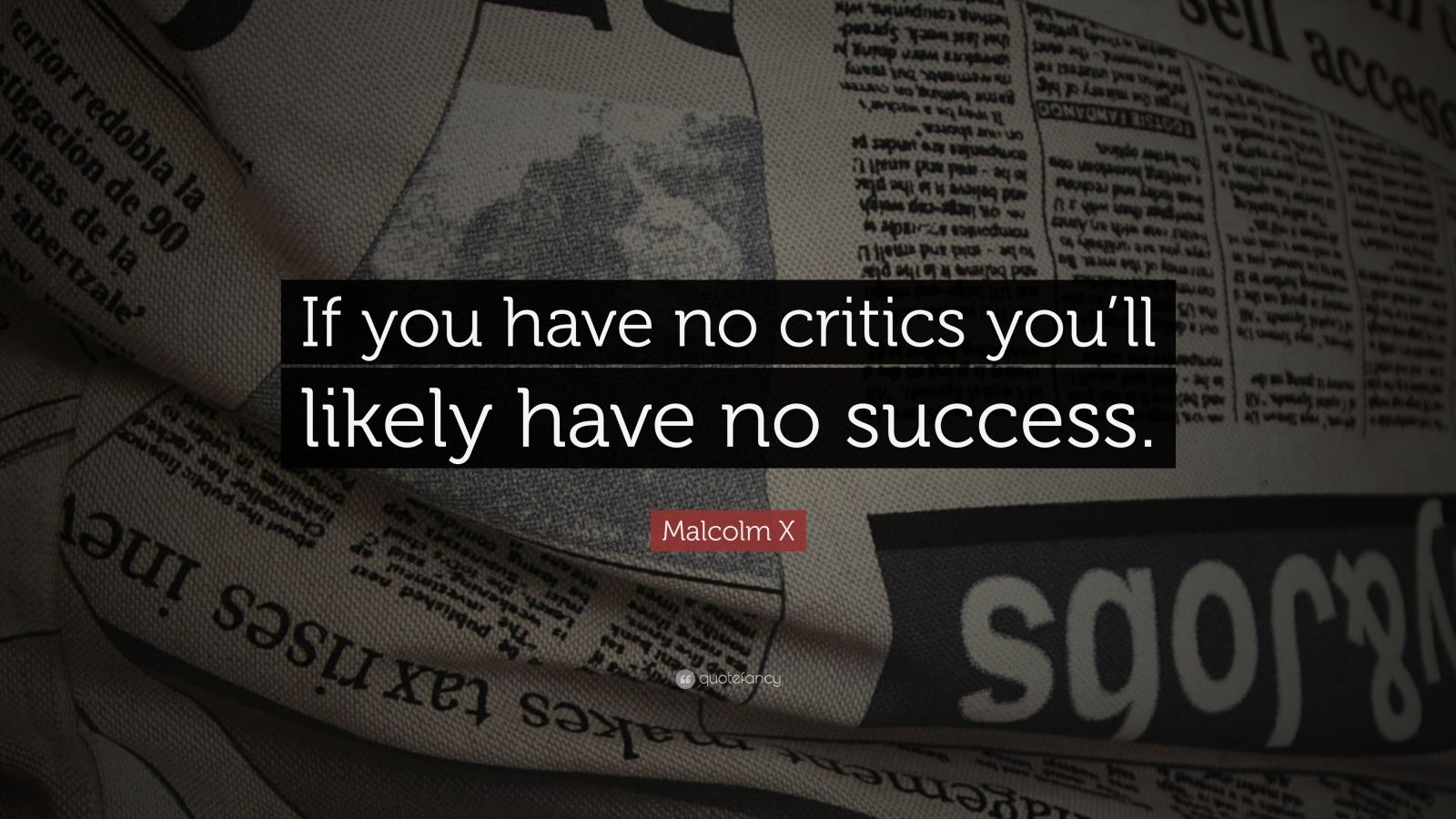 "Malcolm X Quote: ""If you have no critics you'll likely have no success."""