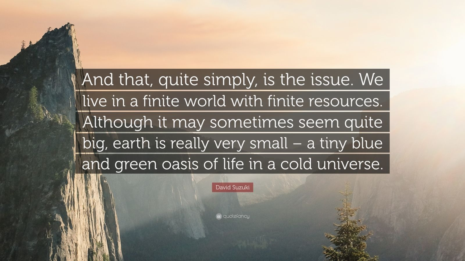 "David Suzuki Quote: ""And that, quite simply, is the issue. We live in a finite world with finite resources. Although it may sometimes seem quite big, earth is really very small – a tiny blue and green oasis of life in a cold universe."""