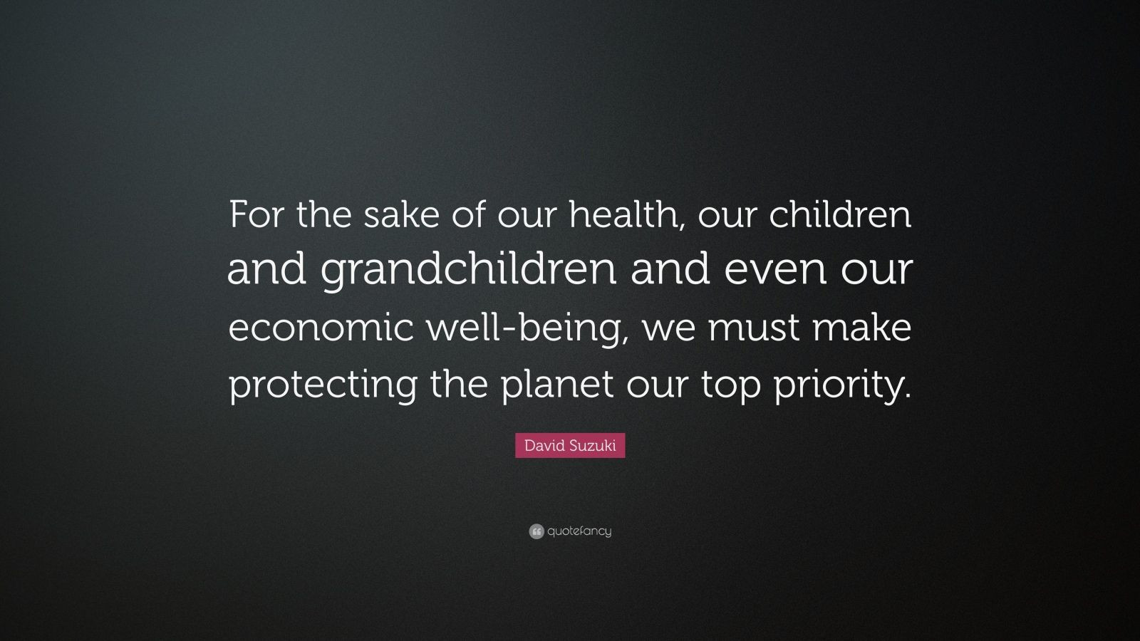 """David Suzuki Quote: """"For the sake of our health, our children and grandchildren and even our economic well-being, we must make protecting the planet our top priority."""""""