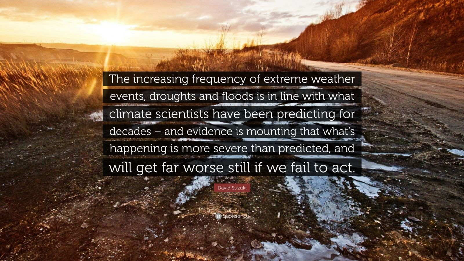 """David Suzuki Quote: """"The increasing frequency of extreme weather events, droughts and floods is in line with what climate scientists have been predicting for decades – and evidence is mounting that what's happening is more severe than predicted, and will get far worse still if we fail to act."""""""