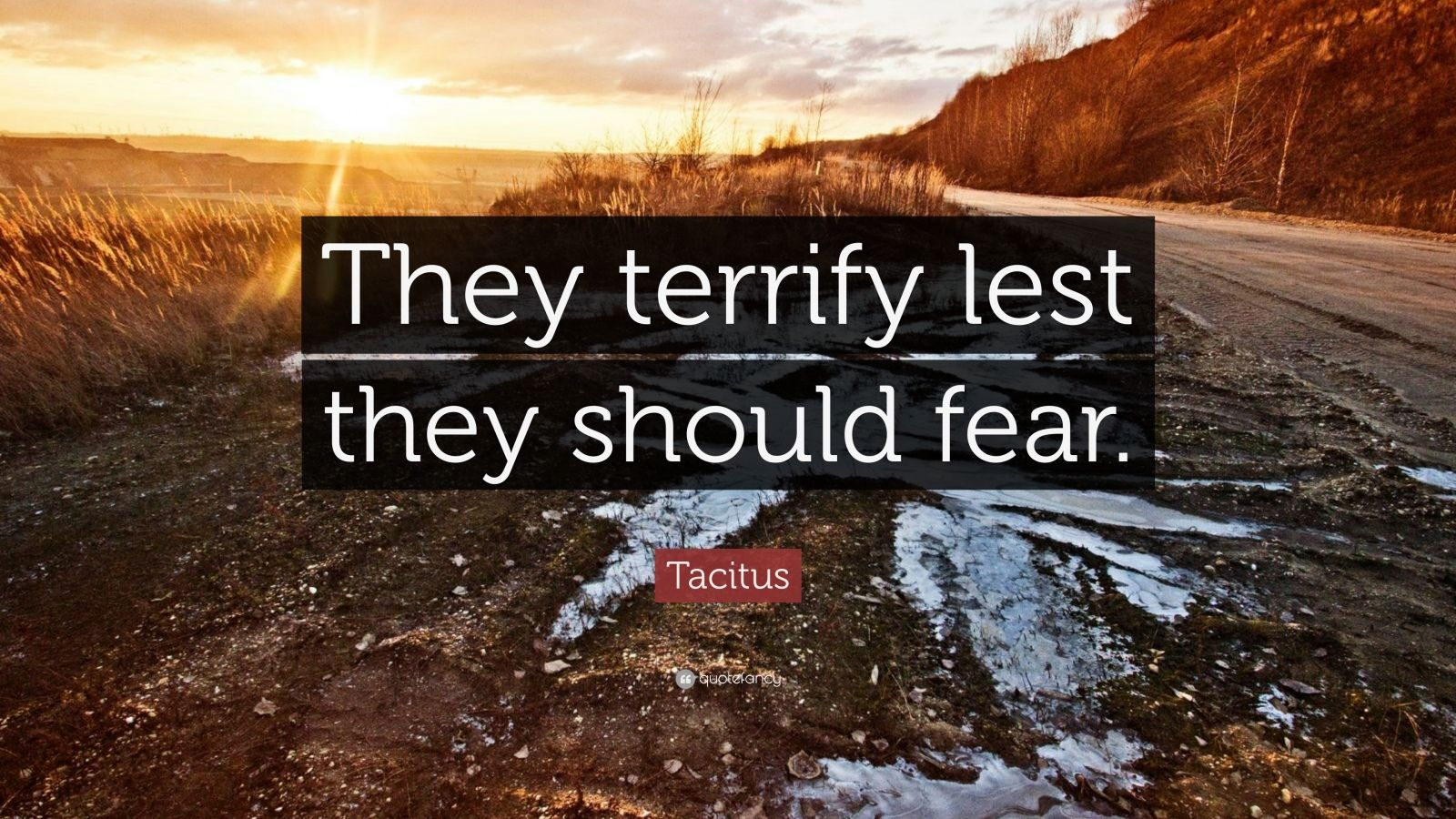 """Tacitus Quote: """"They terrify lest they should fear."""""""
