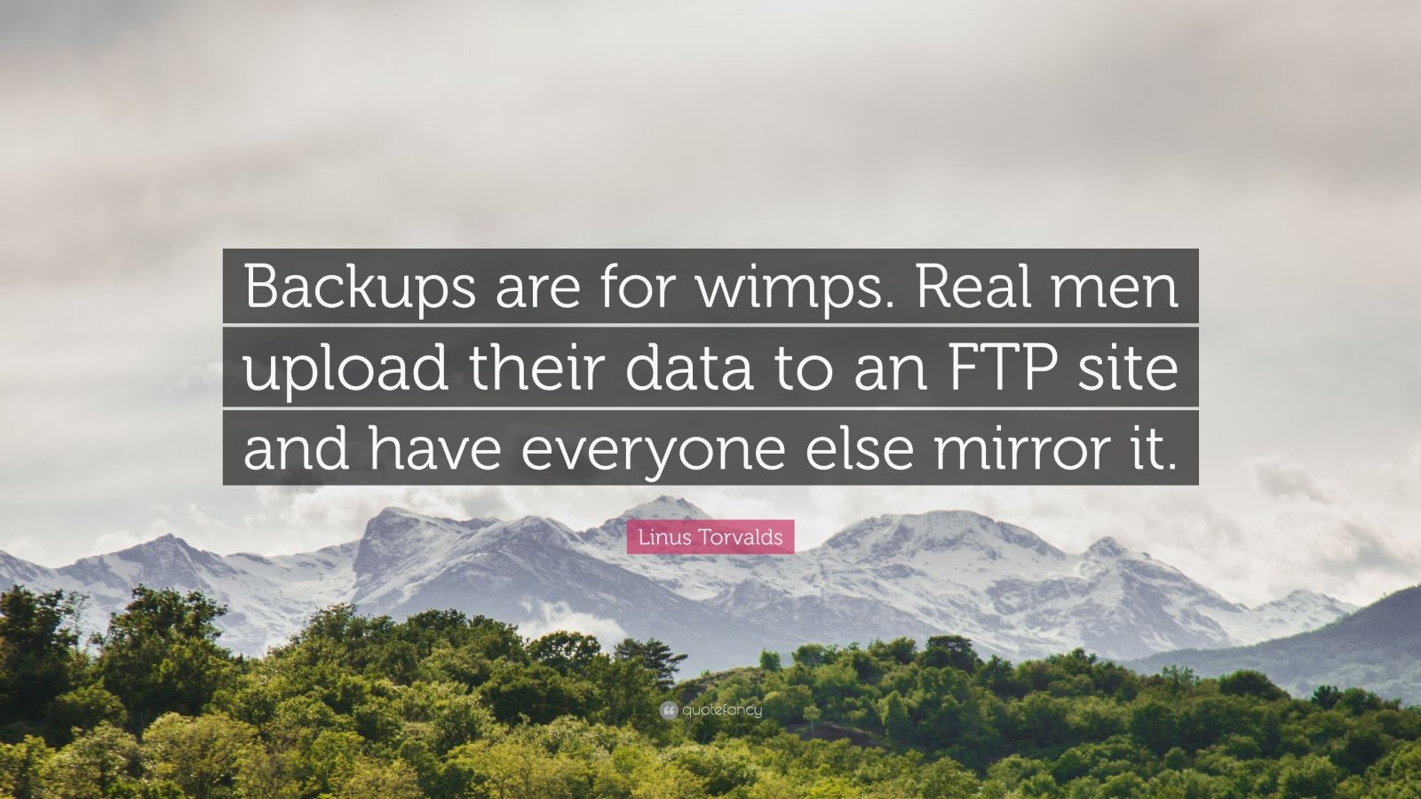 """Linus Torvalds Quote: """"Backups are for wimps. Real men upload their data to an FTP site and have everyone else mirror it."""""""