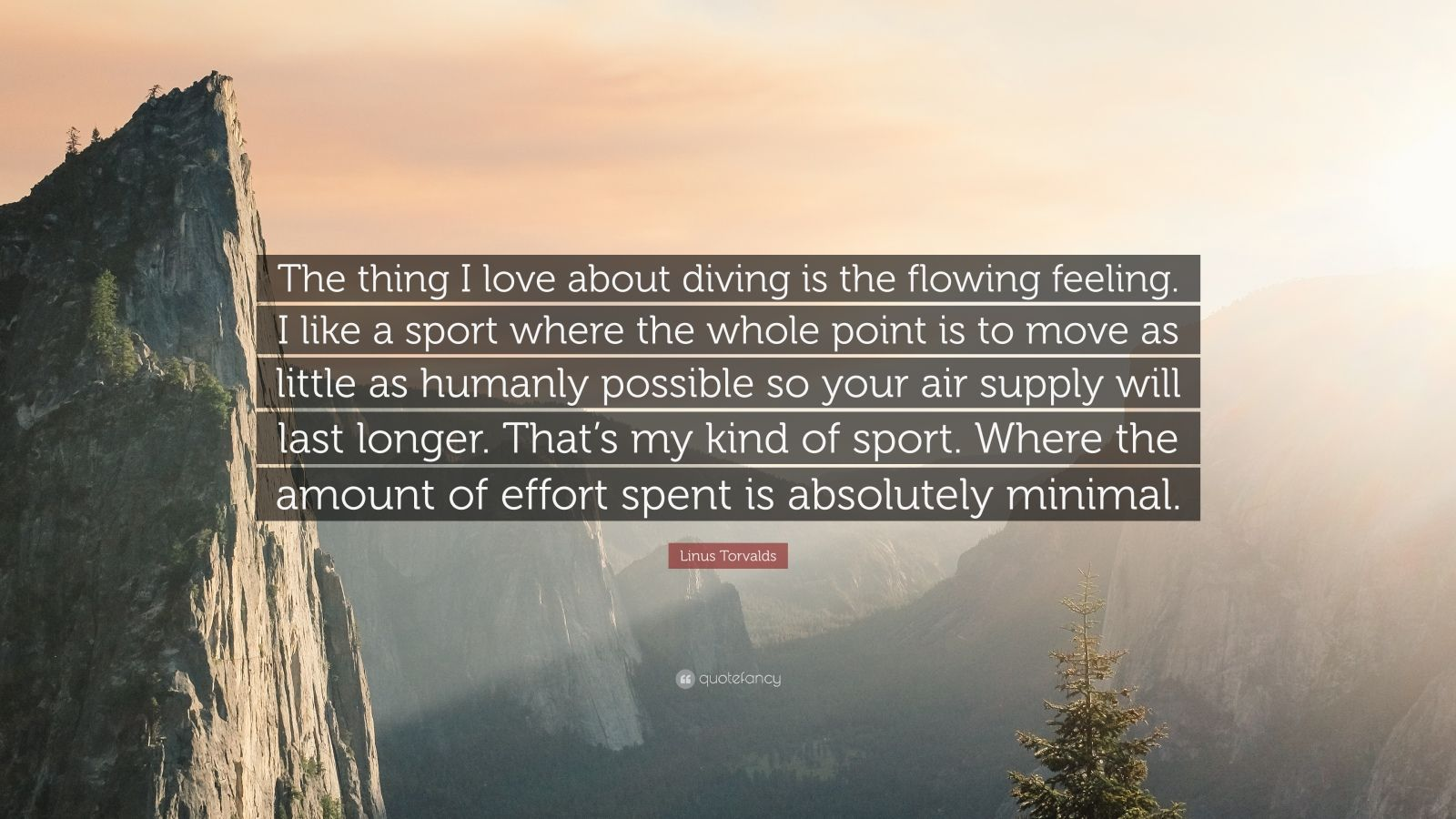 """Linus Torvalds Quote: """"The thing I love about diving is the flowing feeling. I like a sport where the whole point is to move as little as humanly possible so your air supply will last longer. That's my kind of sport. Where the amount of effort spent is absolutely minimal."""""""