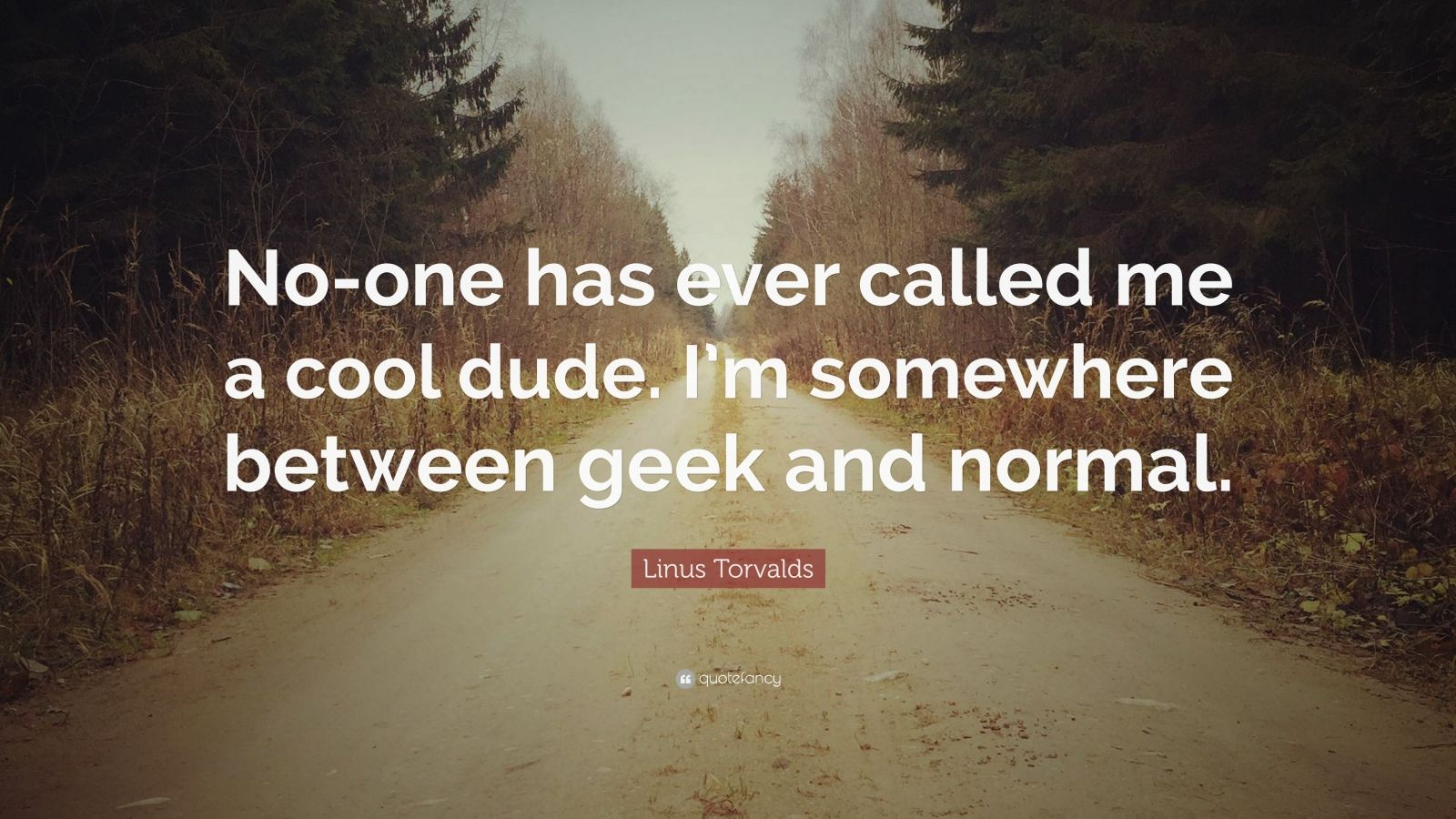 "Linus Torvalds Quote: ""No-one has ever called me a cool dude. I'm somewhere between geek and normal."""