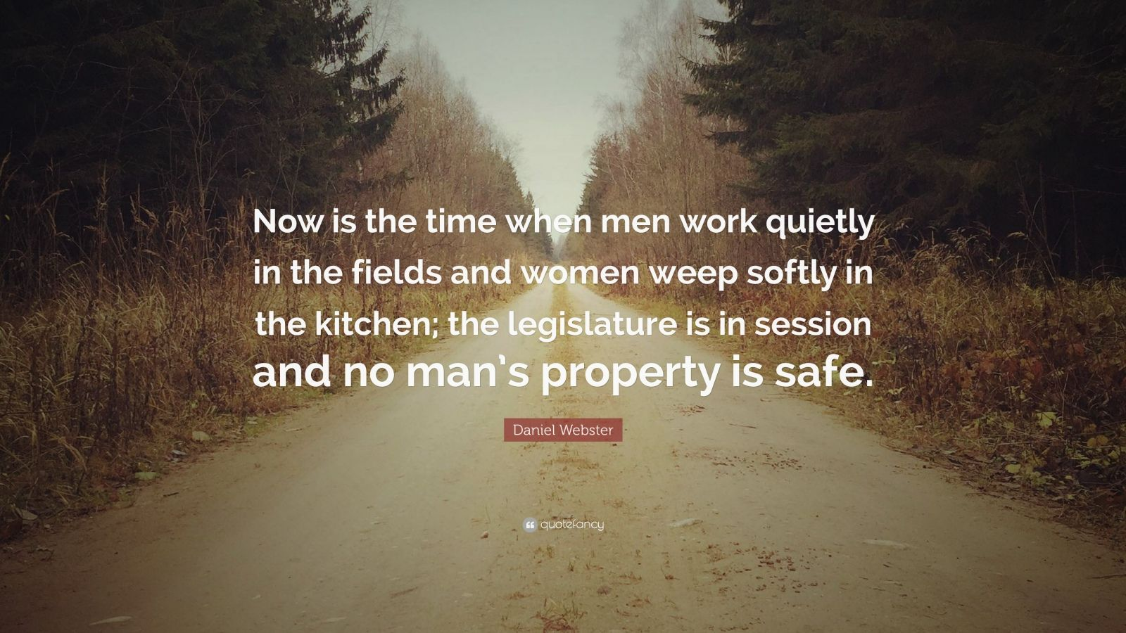 """Daniel Webster Quote: """"Now is the time when men work quietly in the fields and women weep softly in the kitchen; the legislature is in session and no man's property is safe."""""""
