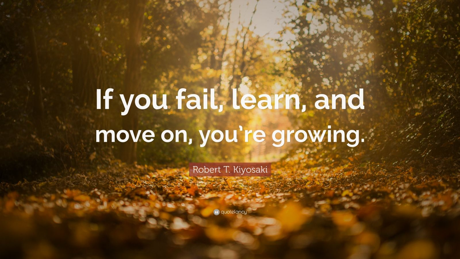 """Robert T. Kiyosaki Quote: """"If you fail, learn, and move on, you're growing."""""""