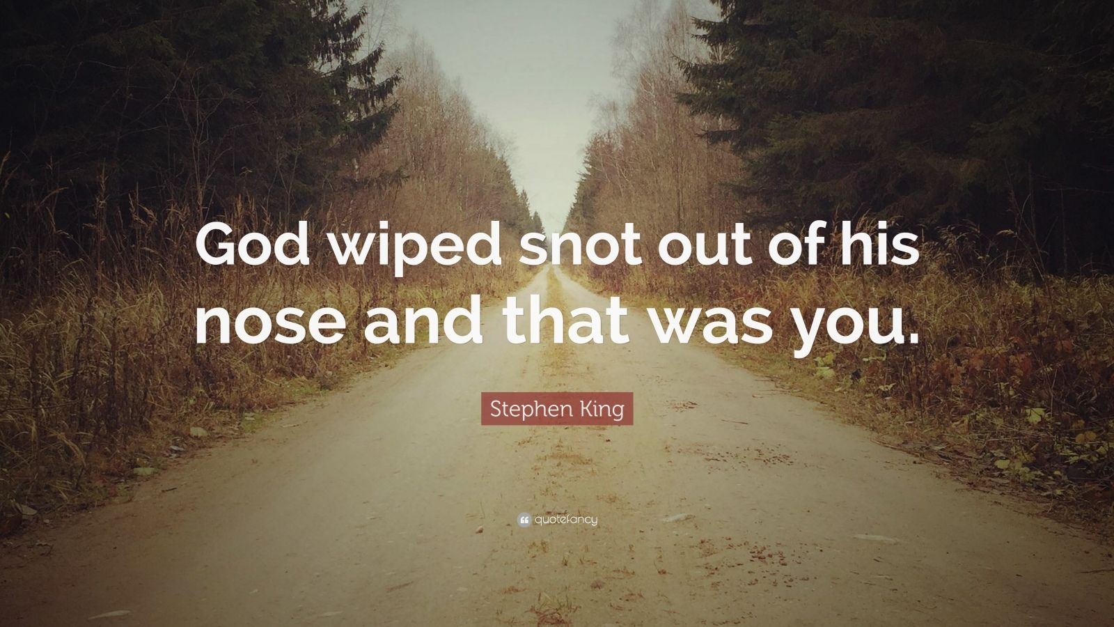 """Stephen King Quote: """"God wiped snot out of his nose and that was you."""""""