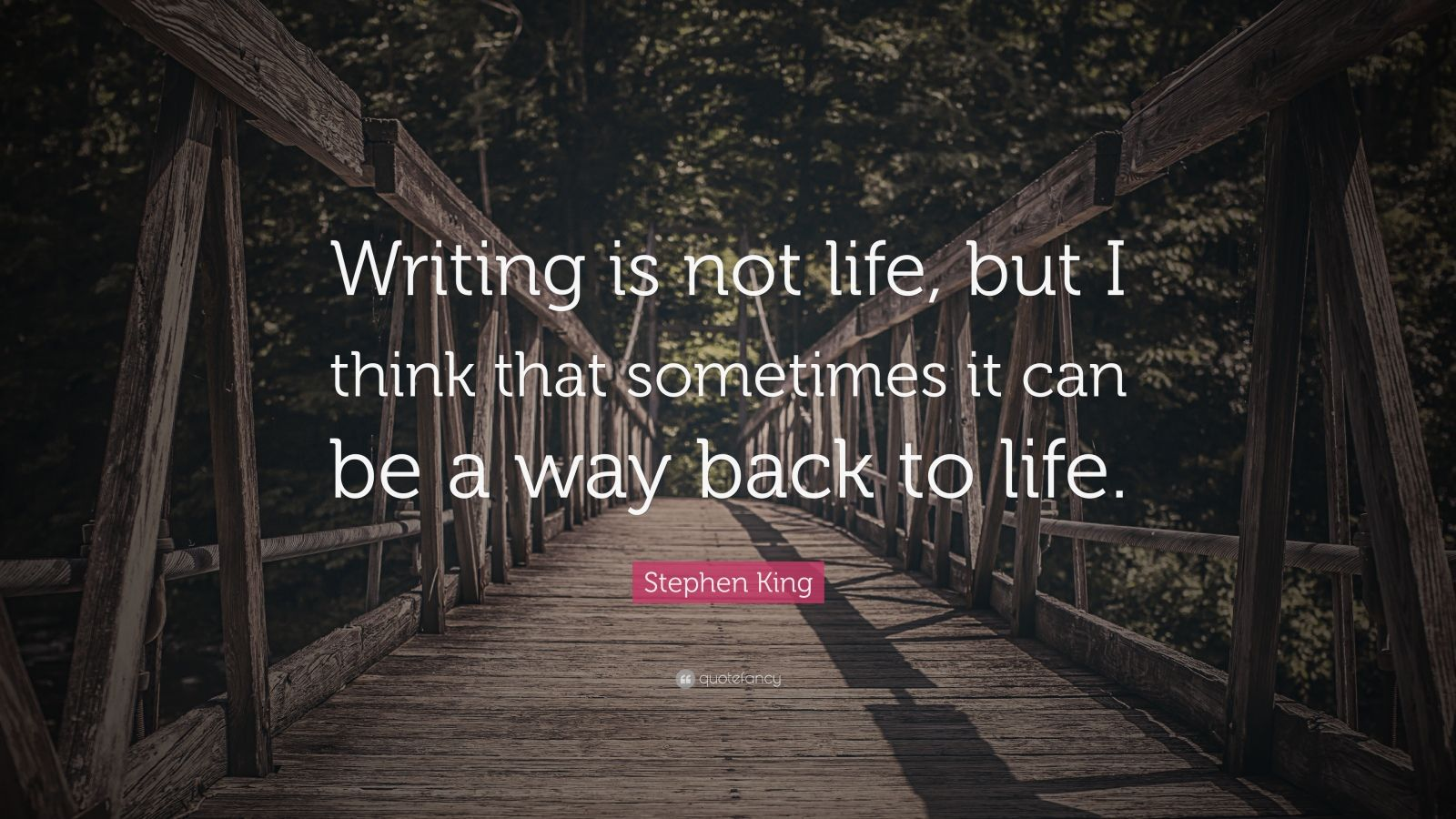 "Stephen King Quote: ""Writing is not life, but I think that sometimes it can be a way back to life."""