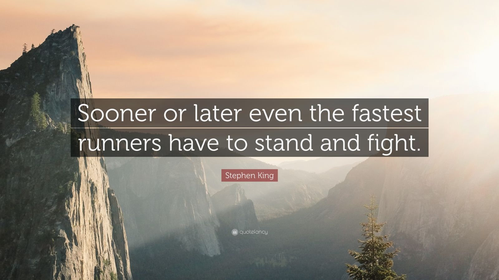 "Stephen King Quote: ""Sooner or later even the fastest runners have to stand and fight."""