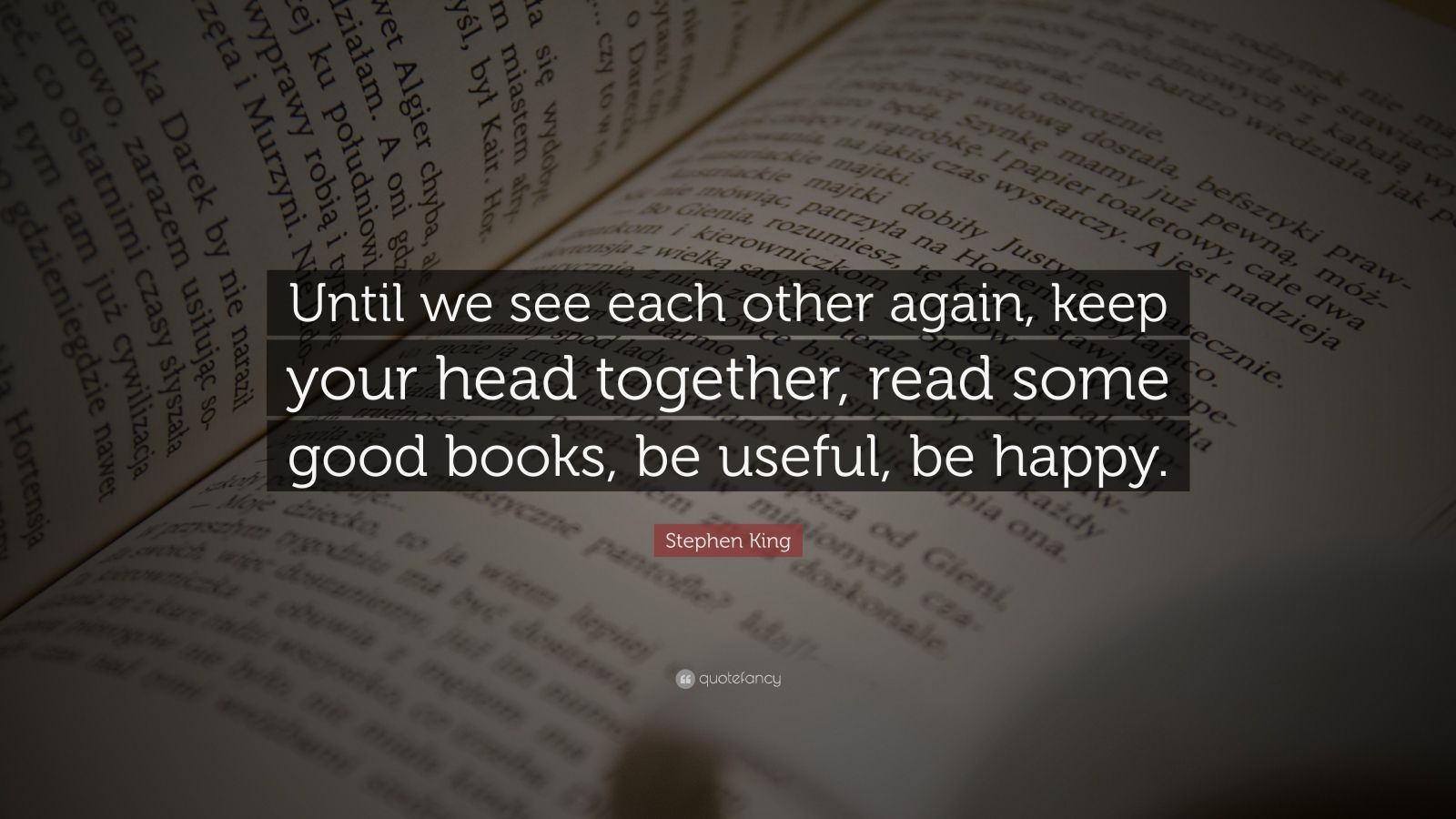 """Stephen King Quote: """"Until we see each other again, keep your head together, read some good books, be useful, be happy."""""""