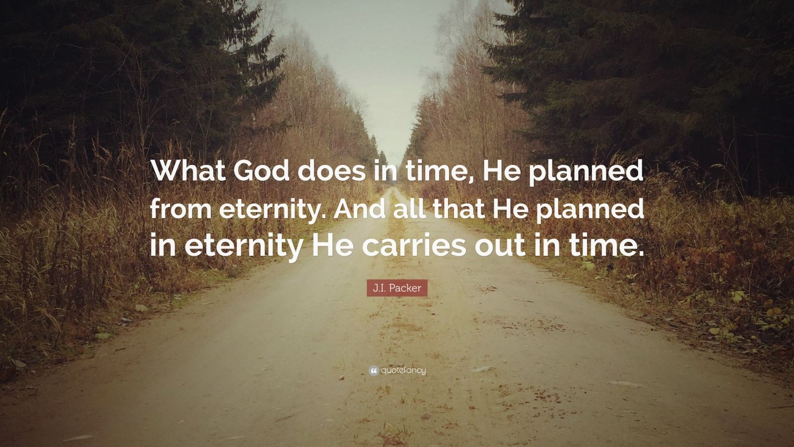 """J.I. Packer Quote: """"What God does in time, He planned from eternity. And all that He planned in eternity He carries out in time."""""""