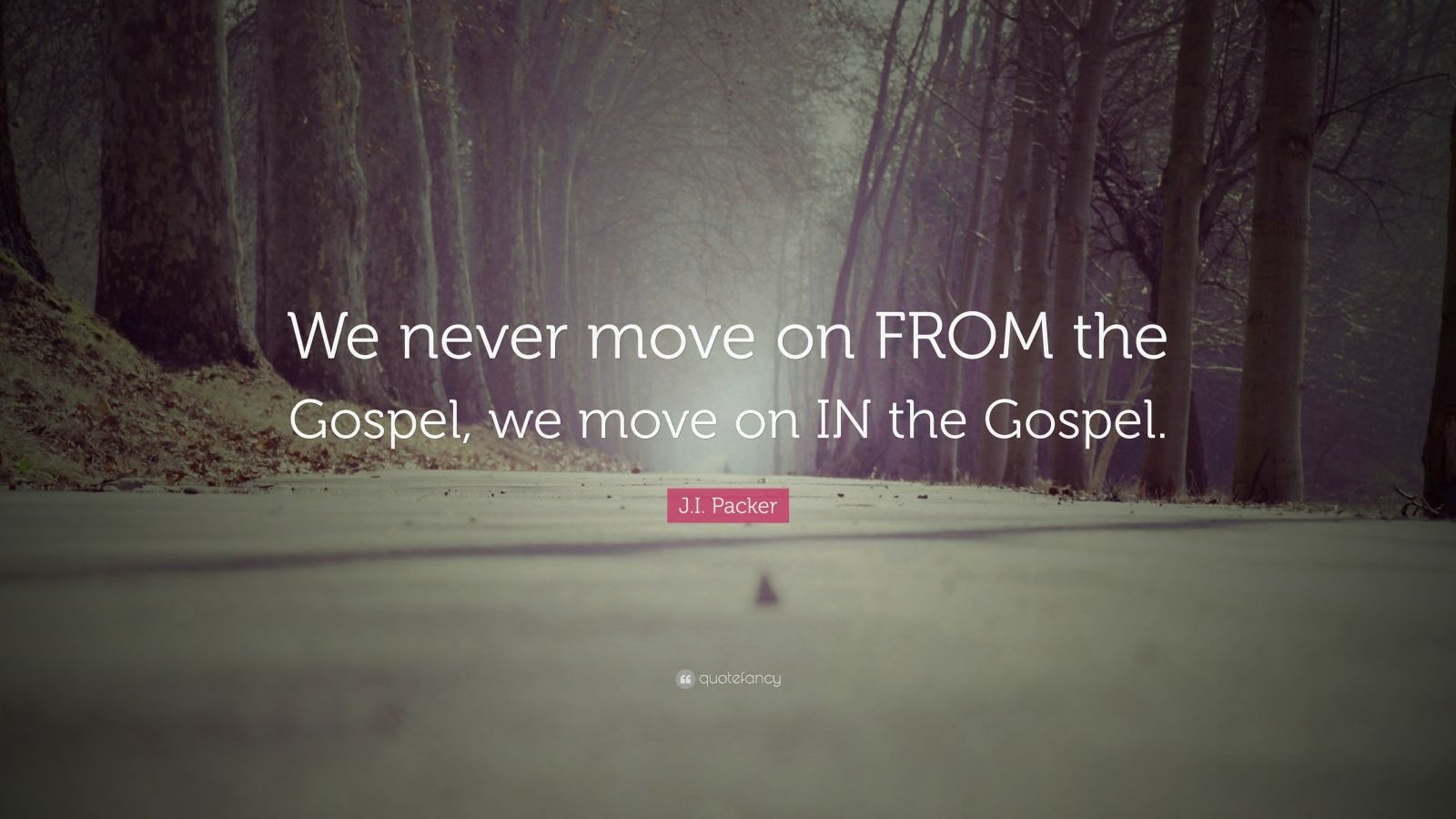"""J.I. Packer Quote: """"We never move on FROM the Gospel, we move on IN the Gospel."""""""