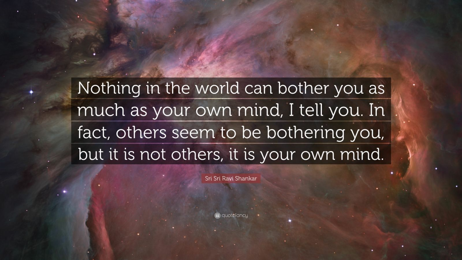 "Sri Sri Ravi Shankar Quote: ""Nothing in the world can bother you as much as your own mind, I tell you. In fact, others seem to be bothering you, but it is not others, it is your own mind."""