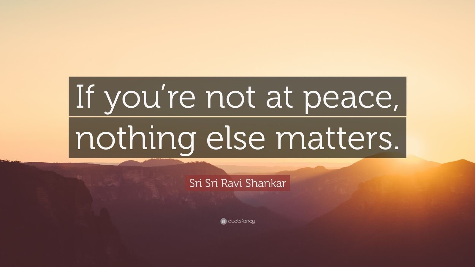"Sri Sri Ravi Shankar Quote: ""If you're not at peace, nothing else matters."""