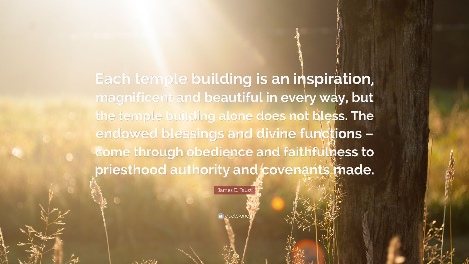 "James E. Faust Quote: ""Each temple building is an inspiration, magnificent and beautiful in every way, but the temple building alone does not bless. The endowed blessings and divine functions – come through obedience and faithfulness to priesthood authority and covenants made."""