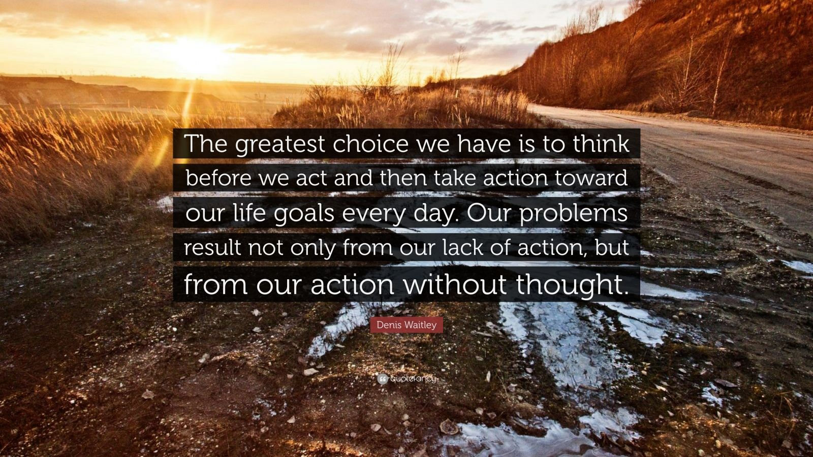 "Denis Waitley Quote: ""The greatest choice we have is to think before we act and then take action toward our life goals every day. Our problems result not only from our lack of action, but from our action without thought."""