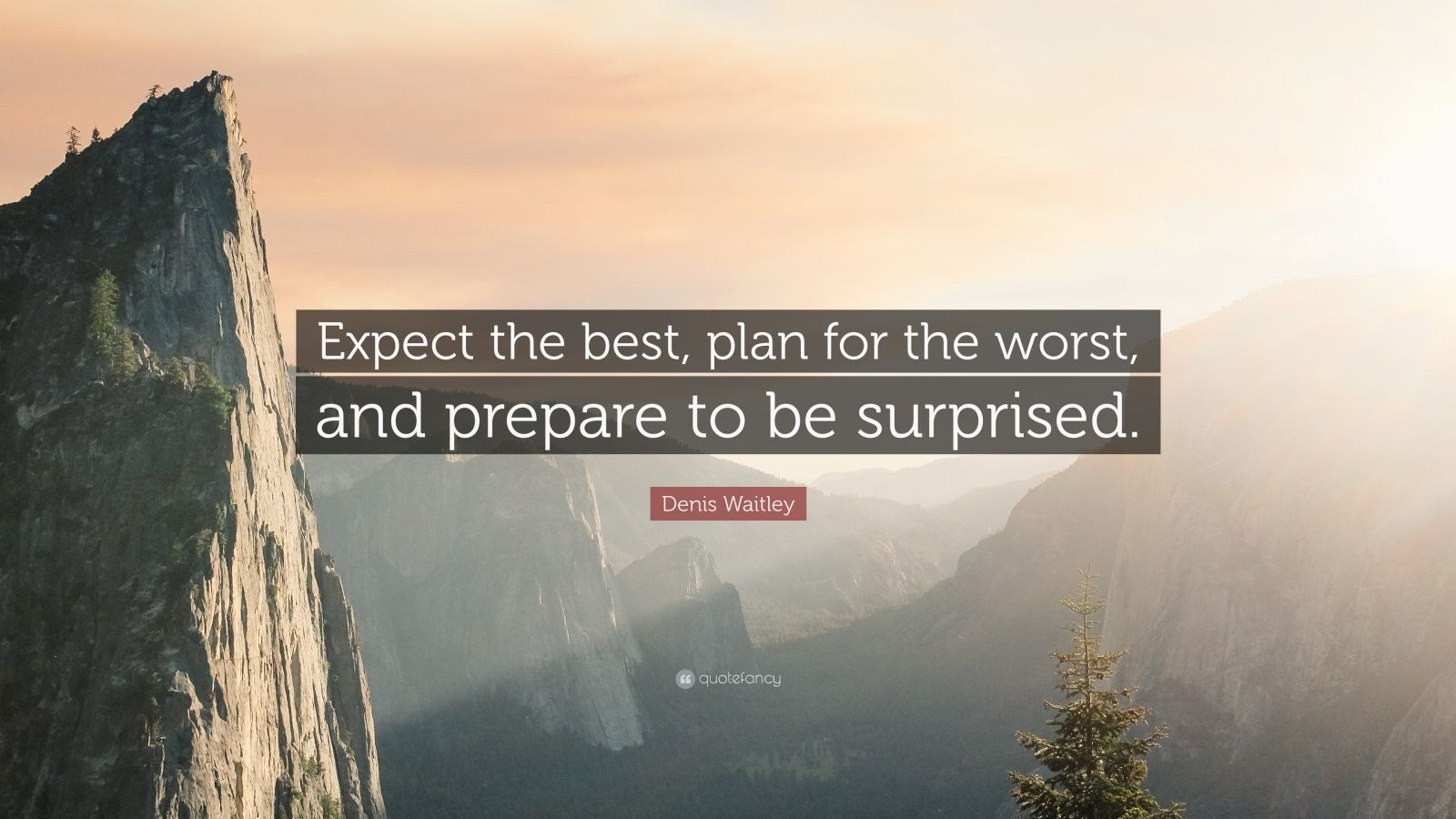 "Denis Waitley Quote: ""Expect the best, plan for the worst, and prepare to be surprised."""
