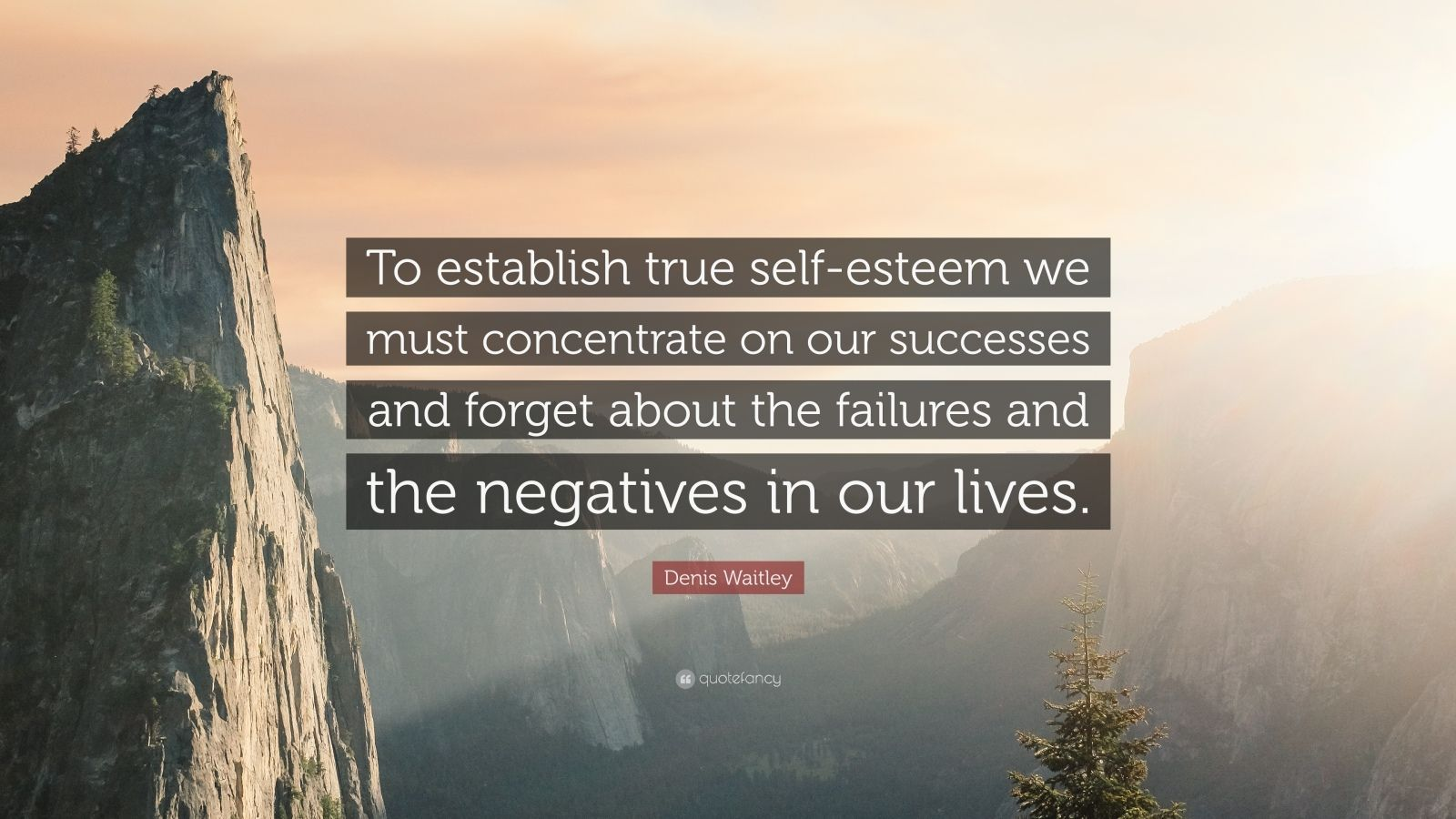 """Denis Waitley Quote: """"To establish true self-esteem we must concentrate on our successes and forget about the failures and the negatives in our lives."""""""