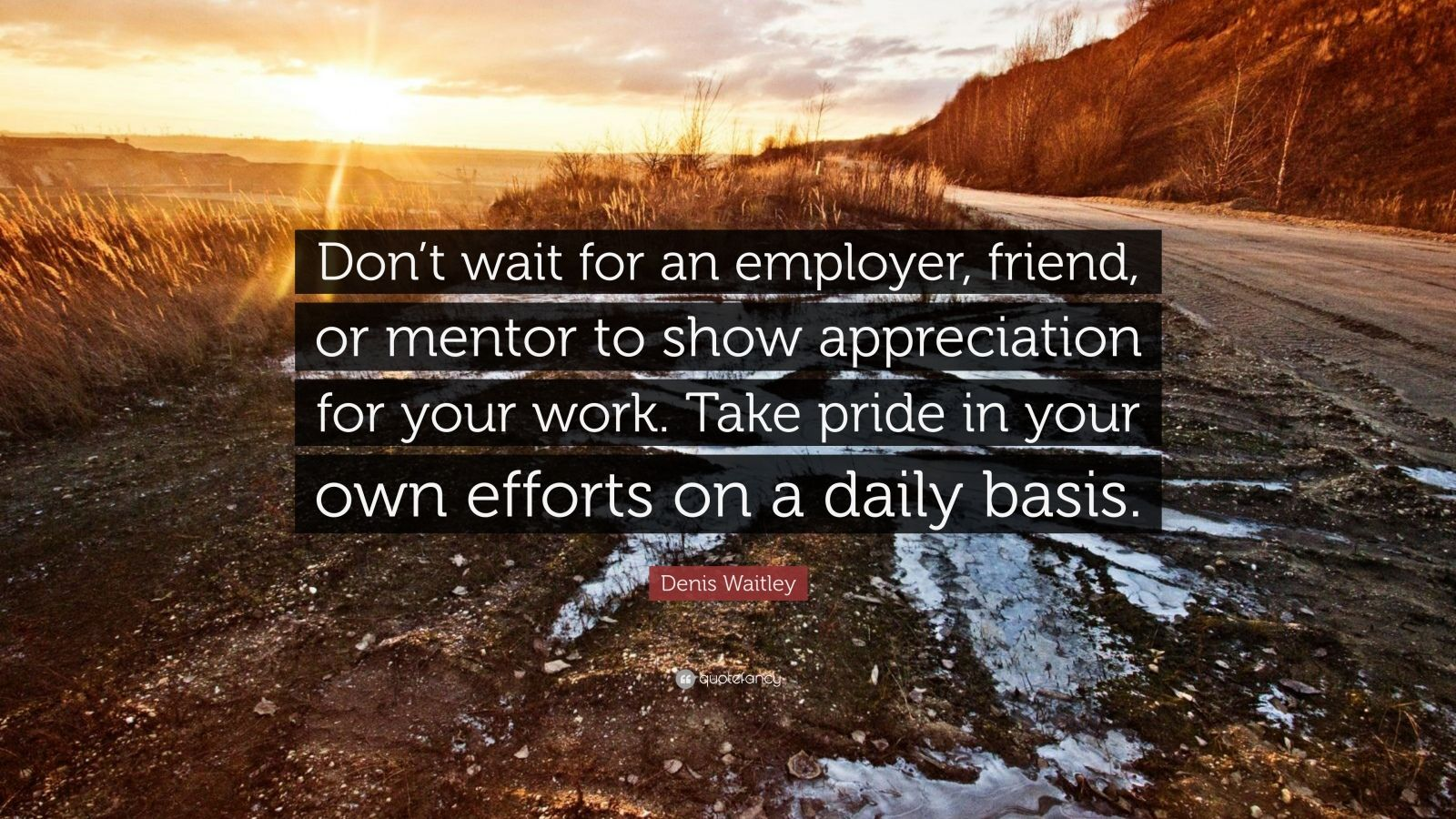 "Denis Waitley Quote: ""Don't wait for an employer, friend, or mentor to show appreciation for your work. Take pride in your own efforts on a daily basis."""