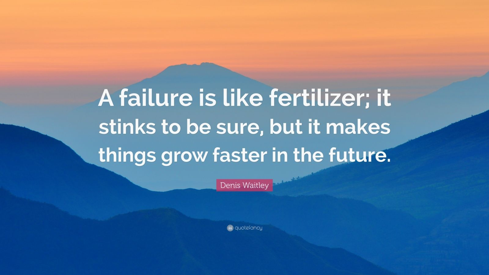 "Denis Waitley Quote: ""A failure is like fertilizer; it stinks to be sure, but it makes things grow faster in the future."""