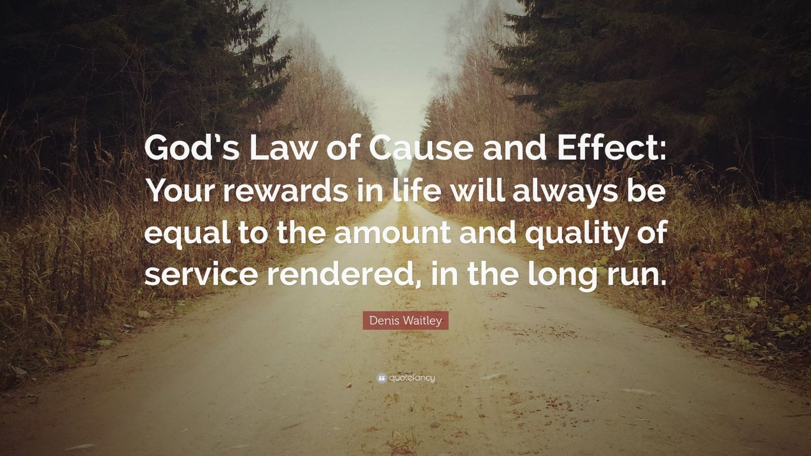 "Denis Waitley Quote: ""God's Law of Cause and Effect: Your rewards in life will always be equal to the amount and quality of service rendered, in the long run."""