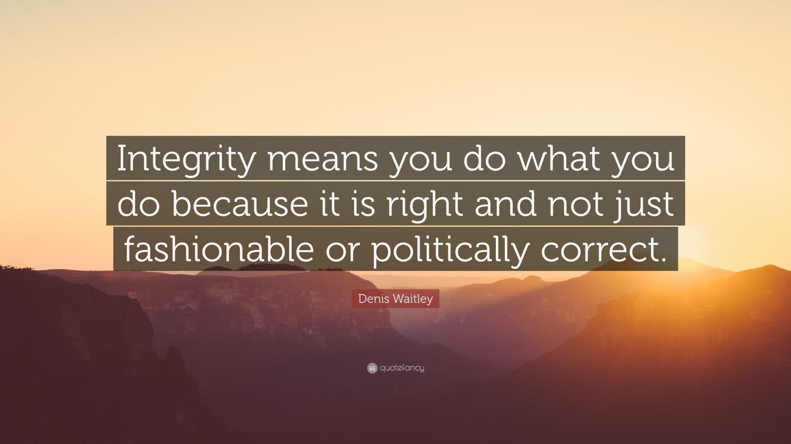 "Denis Waitley Quote: ""Integrity means you do what you do because it is right and not just fashionable or politically correct."""