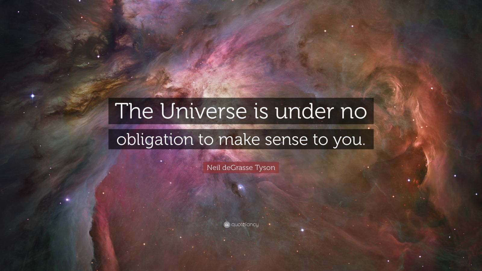 "Neil deGrasse Tyson Quote: ""The Universe is under no obligation to make sense to you."""