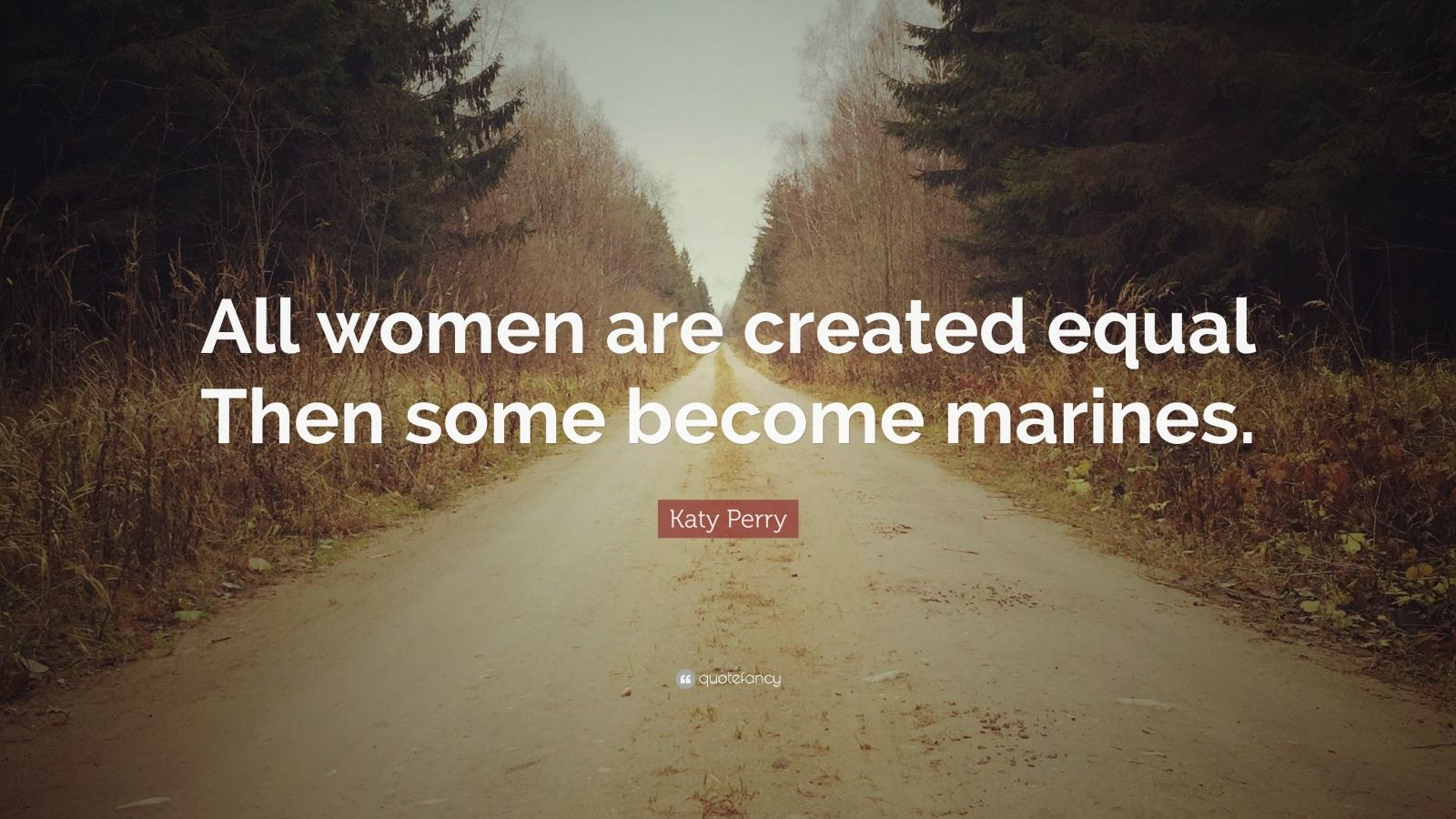 "Katy Perry Quote: ""All women are created equal Then some become marines."""