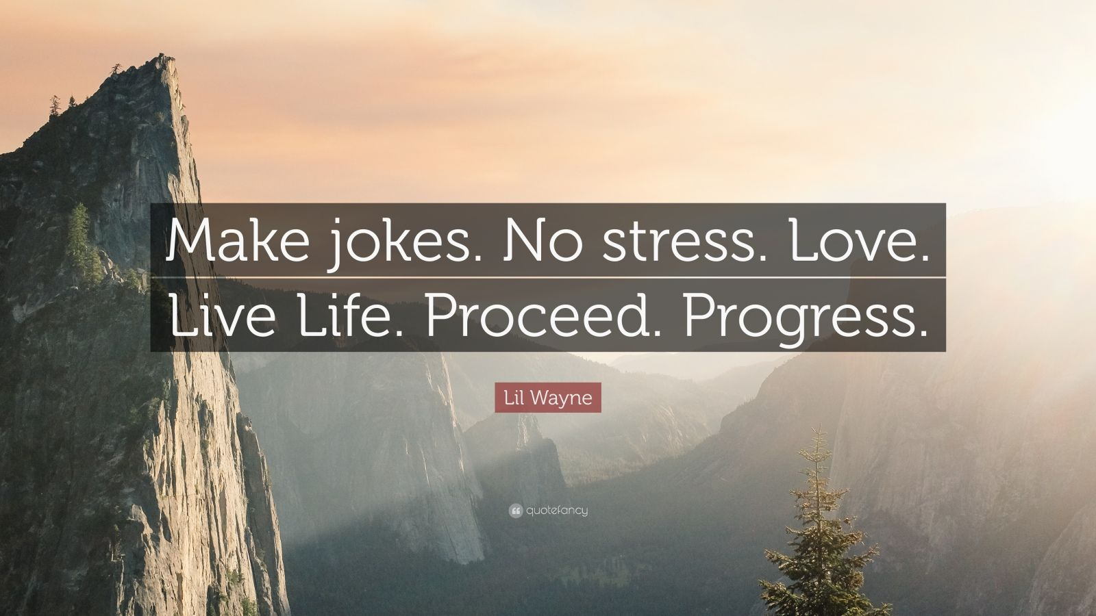 "Lil Wayne Quote: ""Make jokes. No stress. Love. Live Life. Proceed. Progress."""