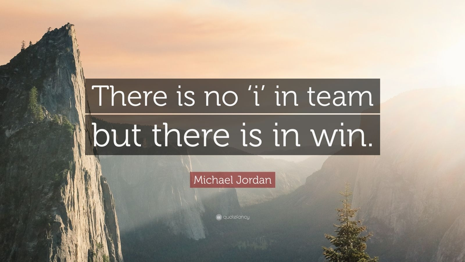"""Michael Jordan Quote: """"There is no 'i' in team but there is in win."""""""
