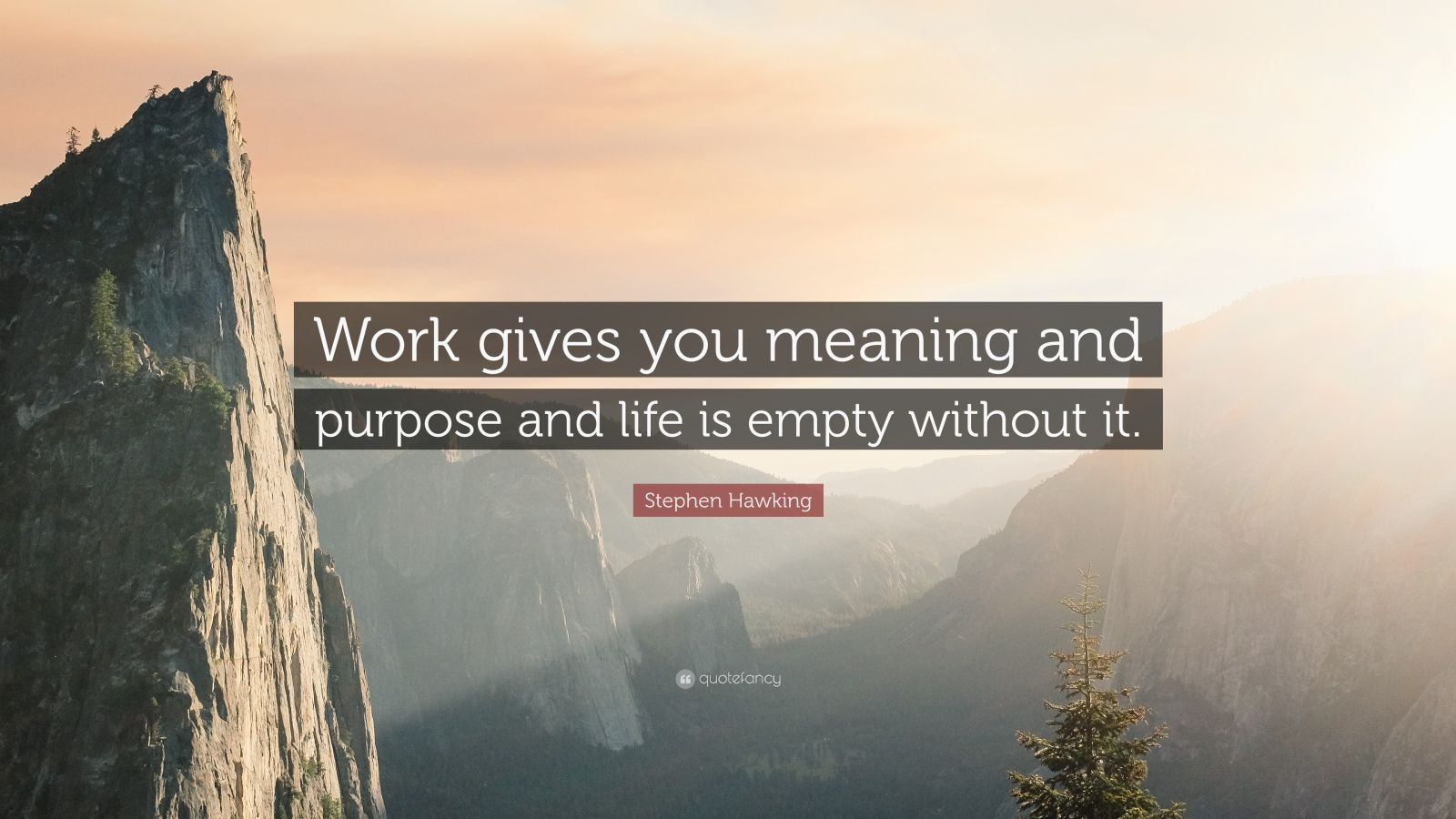 "Stephen Hawking Quote: ""Work gives you meaning and purpose and life is empty without it."""