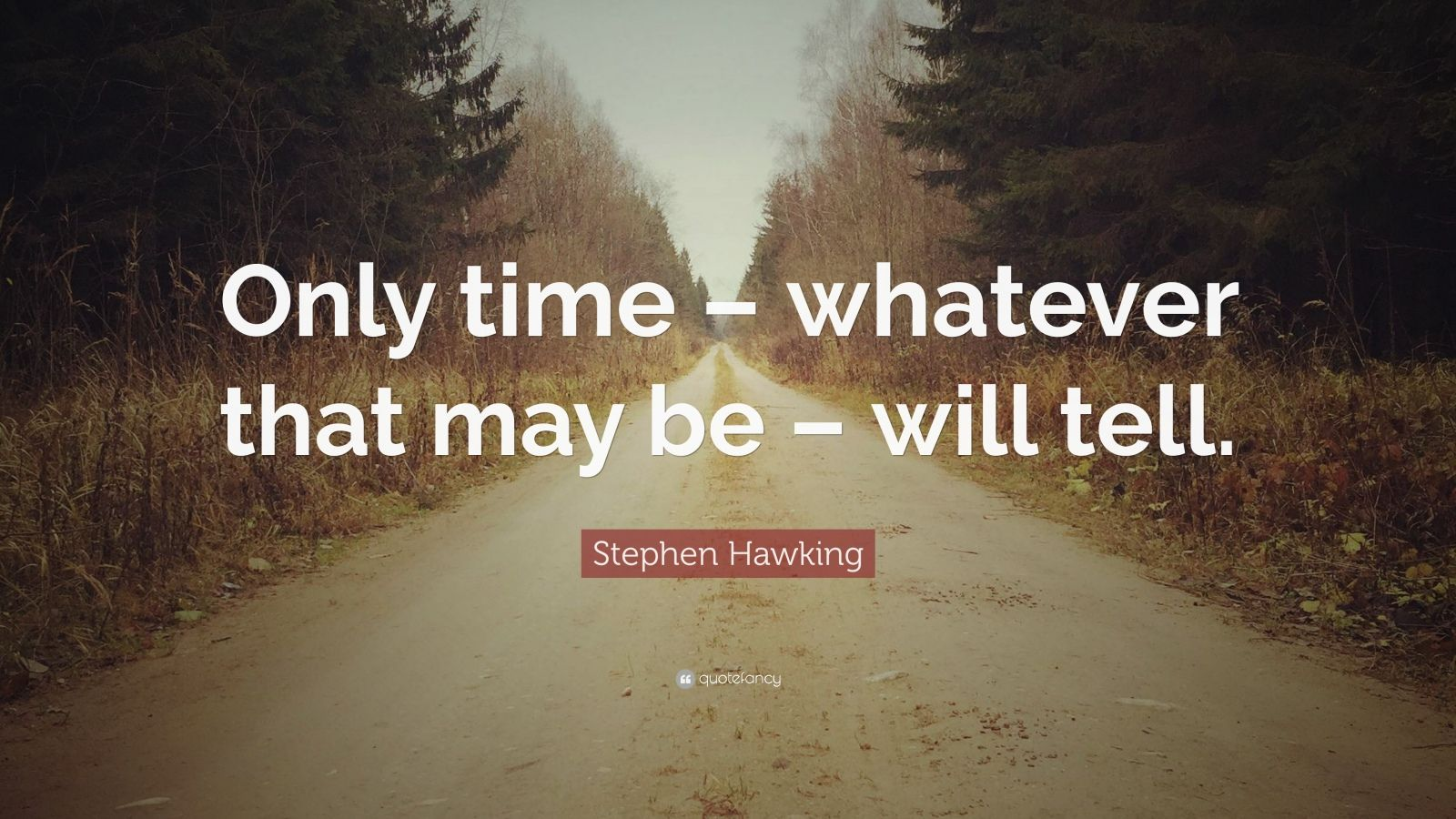 """Stephen Hawking Quote: """"Only time – whatever that may be – will tell."""""""