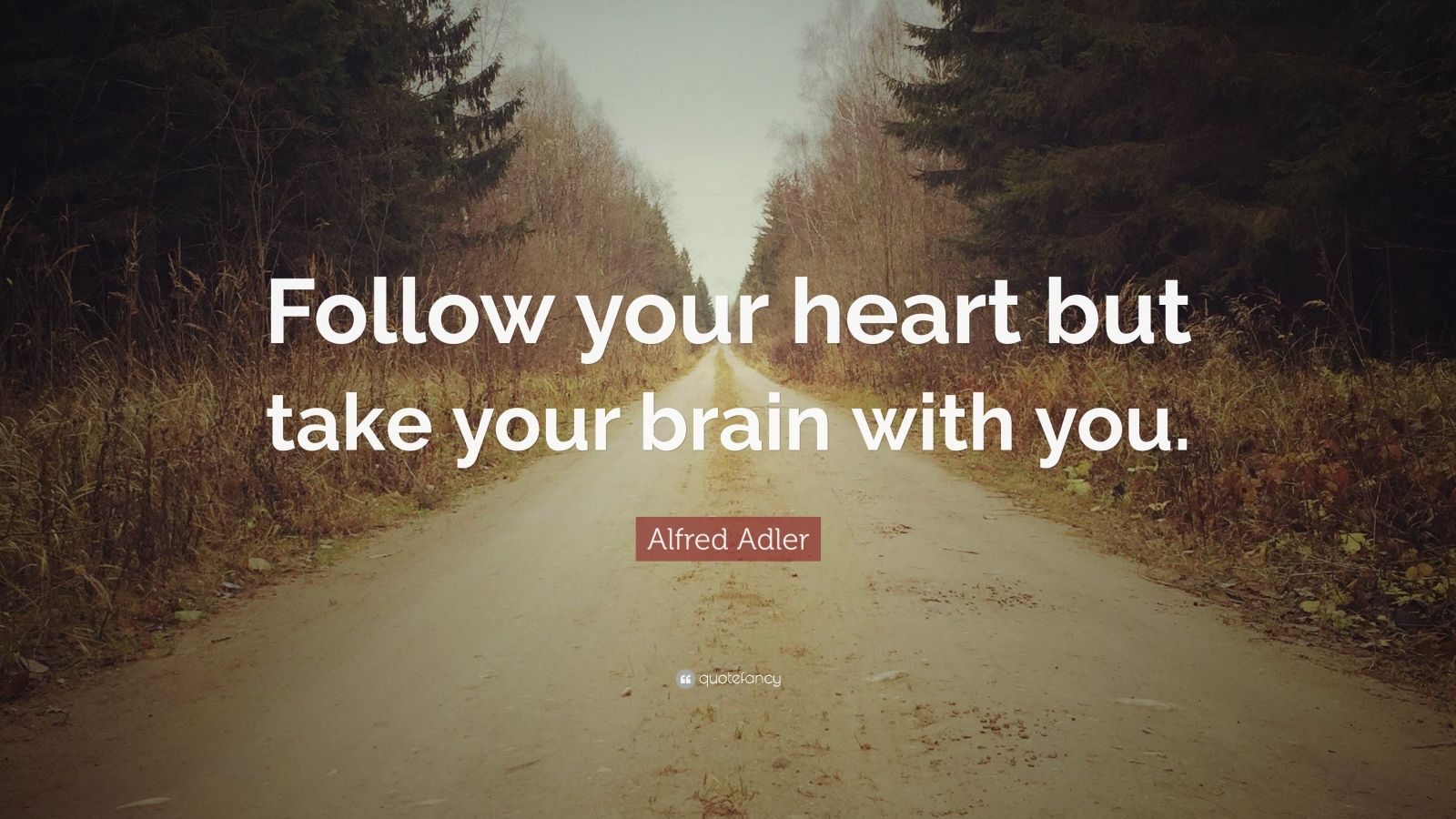 "Alfred Adler Quote: ""Follow your heart but take your brain with you."""
