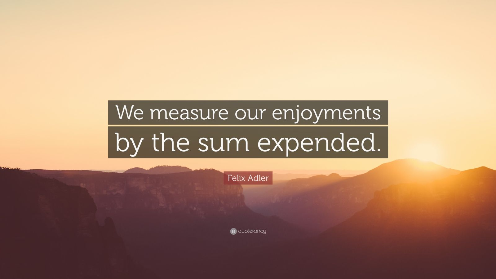 "Felix Adler Quote: ""We measure our enjoyments by the sum expended."""