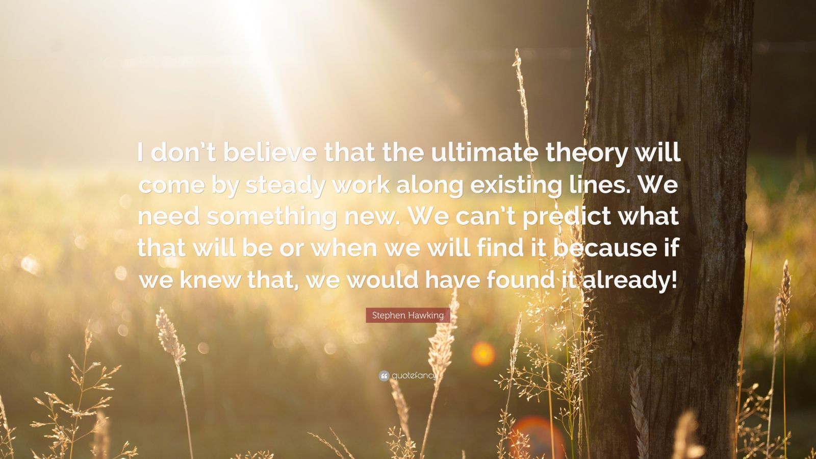 "Stephen Hawking Quote: ""I don't believe that the ultimate theory will come by steady work along existing lines. We need something new. We can't predict what that will be or when we will find it because if we knew that, we would have found it already!"""