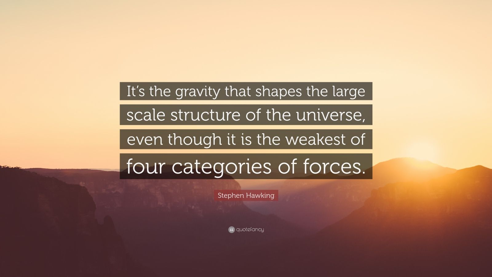 "Stephen Hawking Quote: ""It's the gravity that shapes the large scale structure of the universe, even though it is the weakest of four categories of forces."""