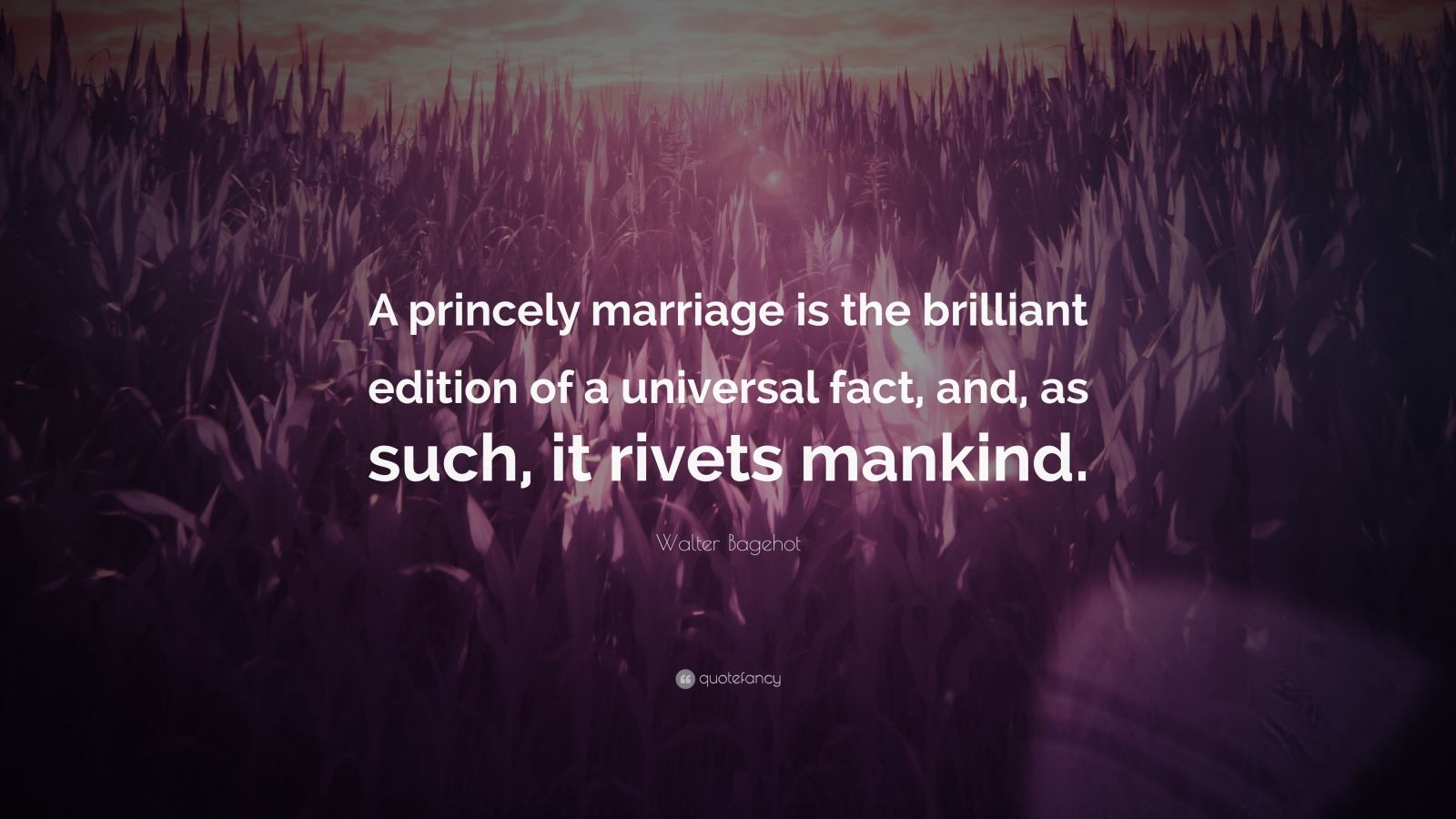 """Walter Bagehot Quote: """"A princely marriage is the brilliant edition of a universal fact, and, as such, it rivets mankind."""""""