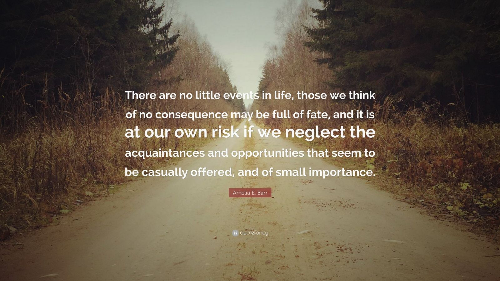 """Amelia E. Barr Quote: """"There are no little events in life, those we think of no consequence may be full of fate, and it is at our own risk if we neglect the acquaintances and opportunities that seem to be casually offered, and of small importance."""""""