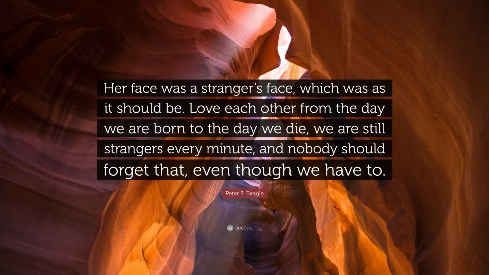 """Love Each Other Or Perish: Peter S. Beagle Quote: """"Her Face Was A Stranger's Face"""