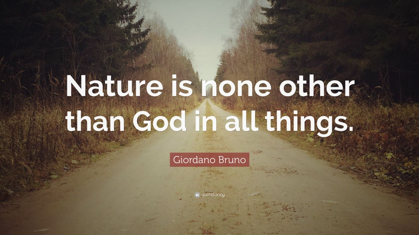 "Giordano Bruno Quote: ""Nature is none other than God in all things."""
