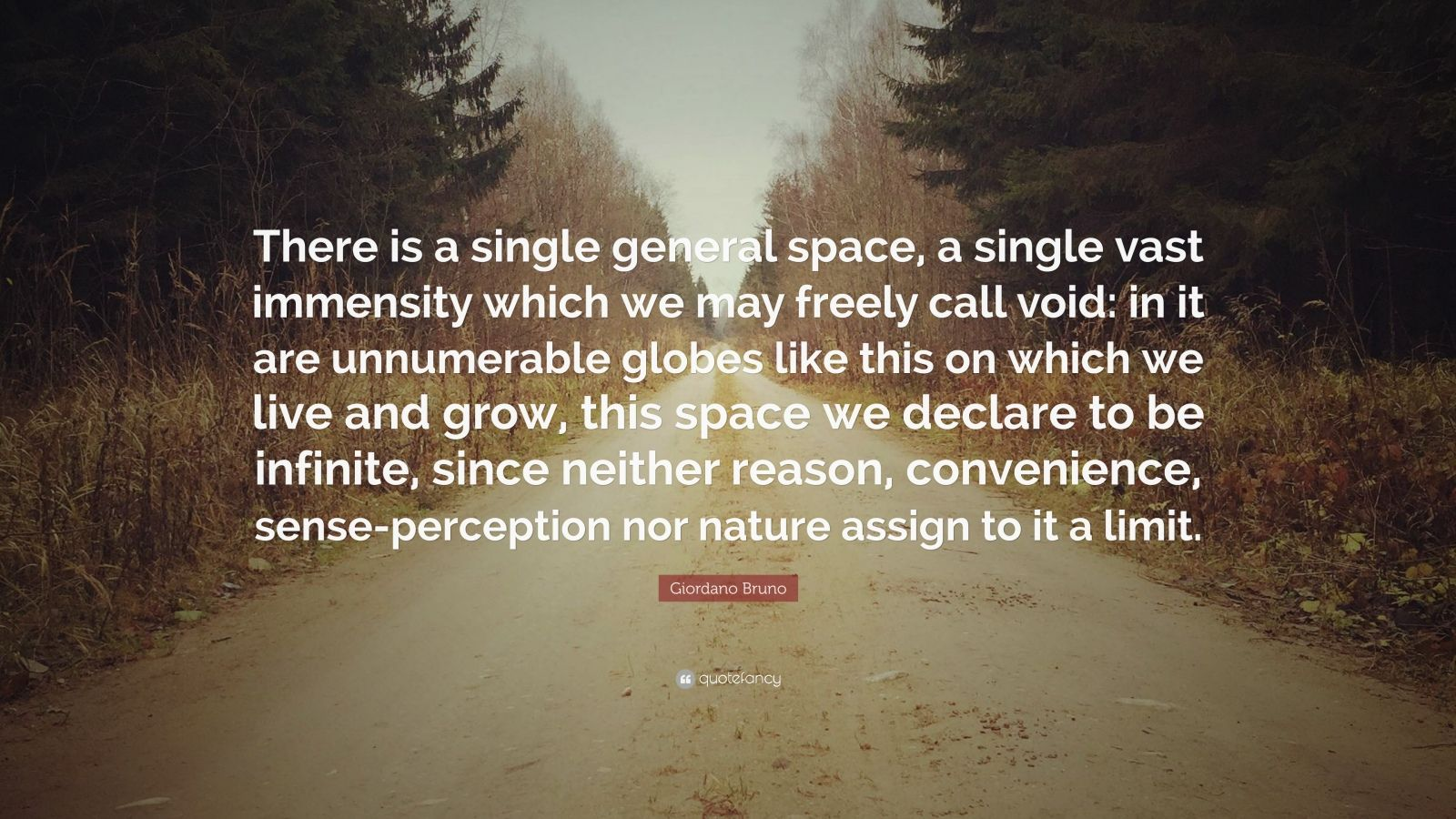 """Giordano Bruno Quote: """"There is a single general space, a single vast immensity which we may freely call void: in it are unnumerable globes like this on which we live and grow, this space we declare to be infinite, since neither reason, convenience, sense-perception nor nature assign to it a limit."""""""