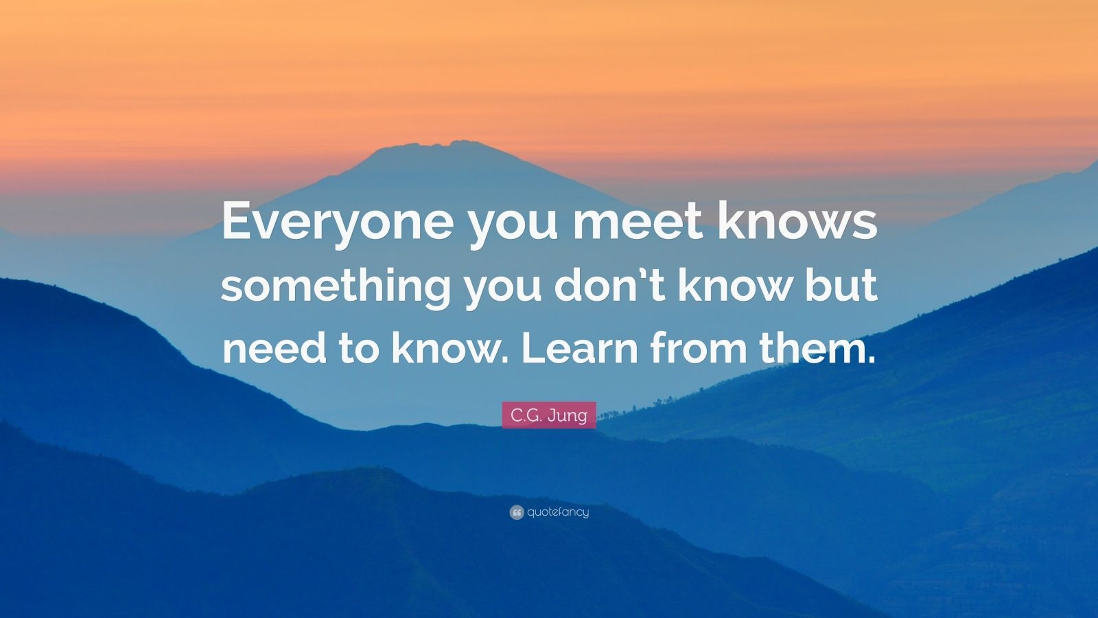 "C.G. Jung Quote: ""Everyone you meet knows something you don't know but need to know. Learn from them."""
