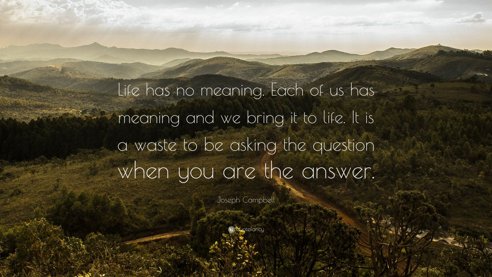 "Joseph Campbell Quote: ""Life has no meaning. Each of us has meaning and we bring it to life. It is a waste to be asking the question when you are the answer."""